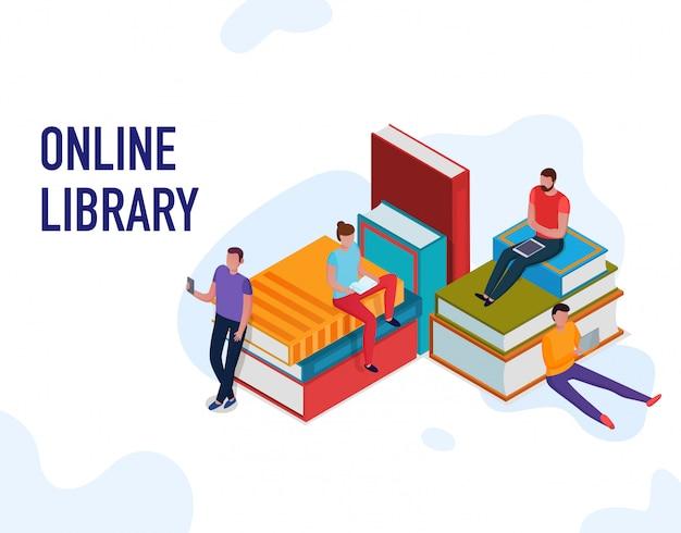 Leute, die bücher lesen und online-bibliothek 3d isometrisch verwenden Kostenlosen Vektoren