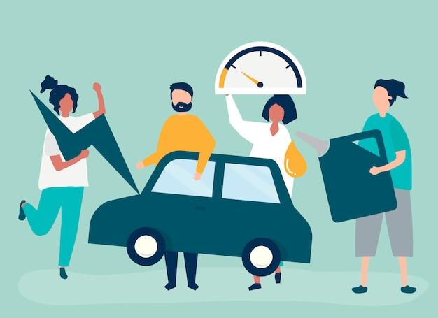Leute, die das auto mit benzin betanken Kostenlosen Vektoren