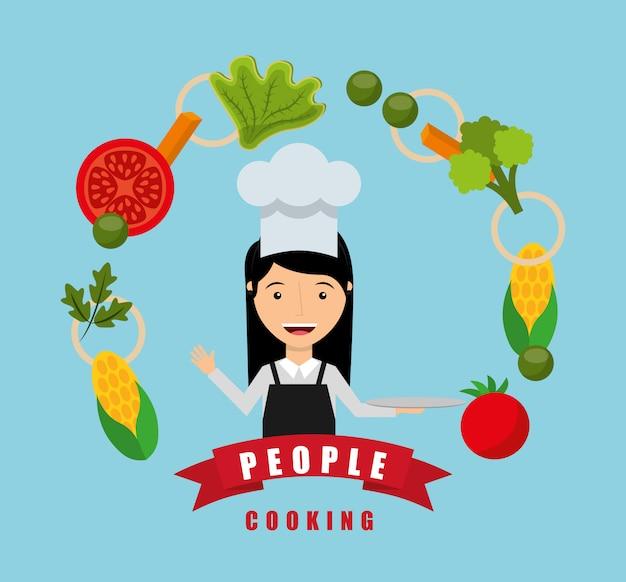 Leute, die design kochen Kostenlosen Vektoren