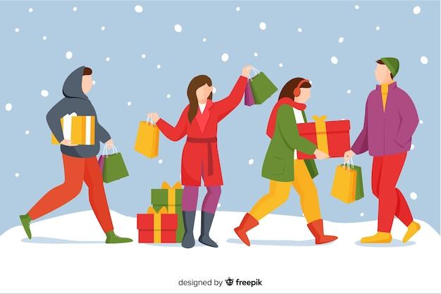 Leute, die draußen weihnachtsgeschenke kaufen Kostenlosen Vektoren