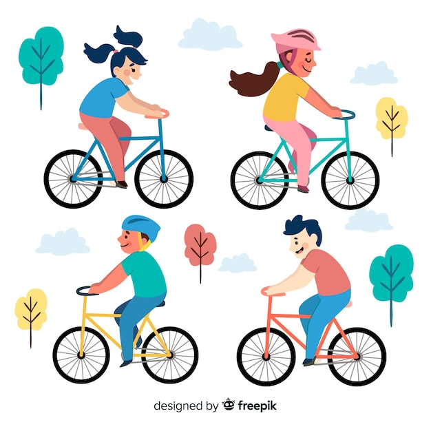 Leute, die fahrrad im park fahren Kostenlosen Vektoren