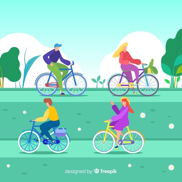 Leute, die fahrrad im park reiten Kostenlosen Vektoren