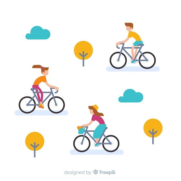 Leute, die fahrrad in der flachen art des parks reiten Kostenlosen Vektoren