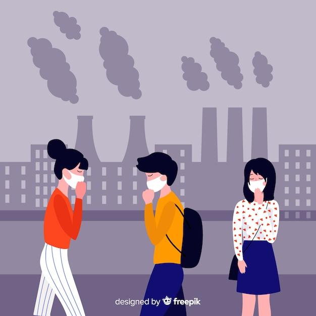 Leute, die flachen hintergrund der verschmutzung leiden Kostenlosen Vektoren