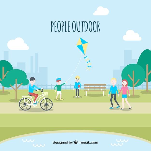 Leute, die freizeitaktivitäten im park machen Kostenlosen Vektoren