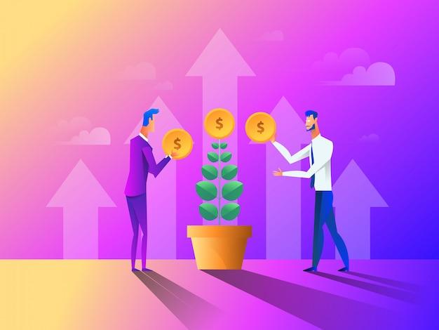 Leute, die geld für ihren geldbaum sammeln, pflanzen und pflegen. Premium Vektoren