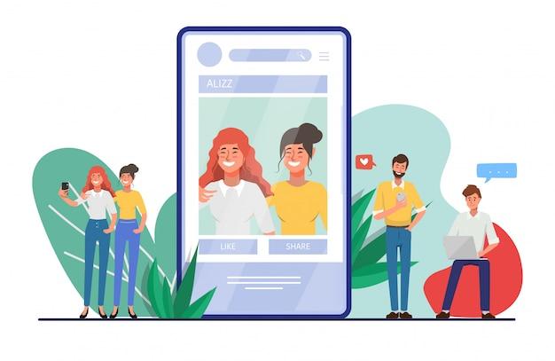 Leute, die handy für social media-netzkommunikation verwenden. Premium Vektoren