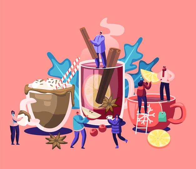Leute, die heiße getränke trinken. männliche und weibliche charaktere wählen im kalten herbst und winter unterschiedliche getränke. teetassen mit strohhalm, zitronenscheiben, vanille-sticks-karikatur-flache vektor-illustration Premium Vektoren