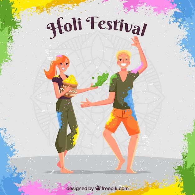 Leute, die Holi Festival in der flachen Art feiern Kostenlose Vektoren