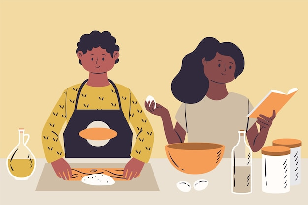 Leute, die illustration kochen Kostenlosen Vektoren