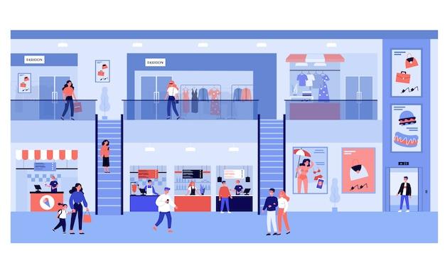 Leute, die im einkaufszentrum einkaufen Premium Vektoren