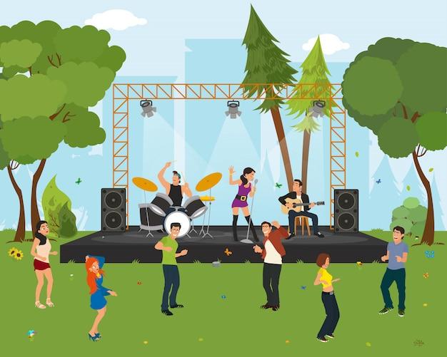 Leute, die im stadtpark beim konzert tanzen. Premium Vektoren