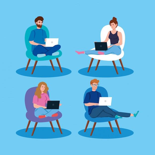 Leute, die in der telearbeit mit laptop arbeiten, der in stühlen sitzt Kostenlosen Vektoren