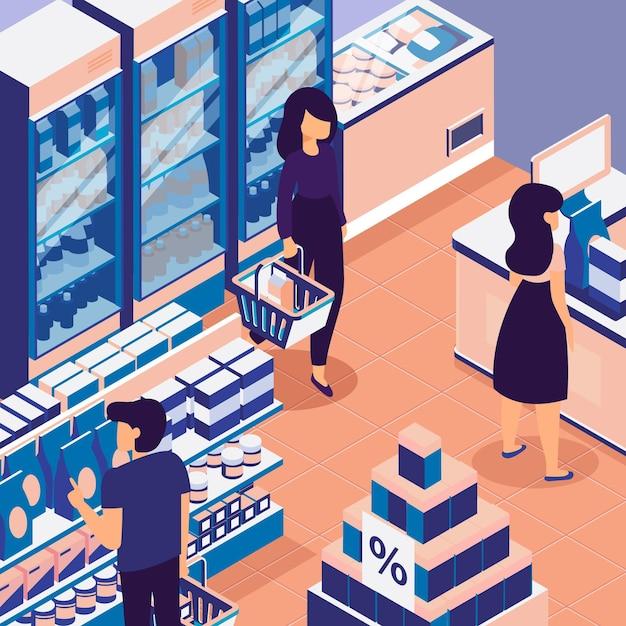 Leute, die in einem isometrischen supermarkt einkaufen Kostenlosen Vektoren