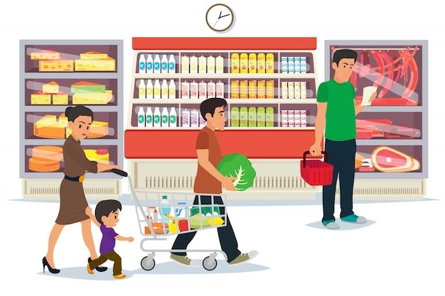 Leute, die in einem mall-konzept einkaufen. Premium Vektoren
