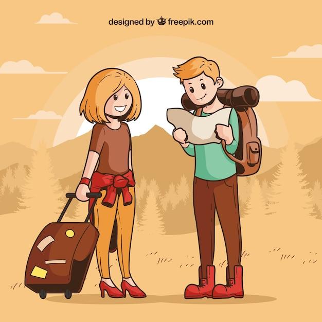 Leute, die in Hand gezeichnete Art reisen Kostenlose Vektoren