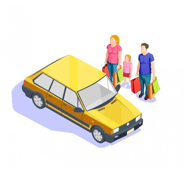 Leute, die isometrische illustration einkaufen Kostenlosen Vektoren