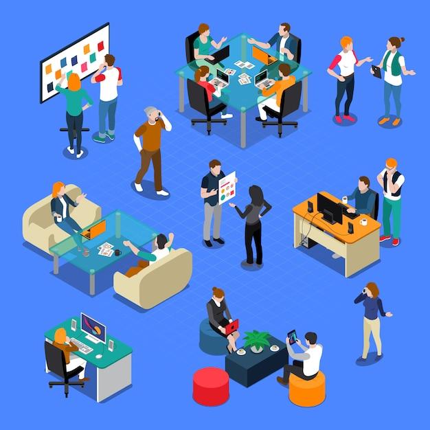 Leute, die isometrisches set coworking sind Kostenlosen Vektoren