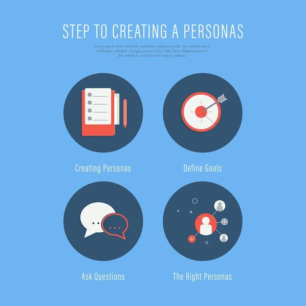 Leute, die käufer personas schritte infographic herstellen. Premium Vektoren