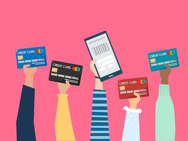 Leute, die kreditkartenillustration halten Kostenlosen Vektoren