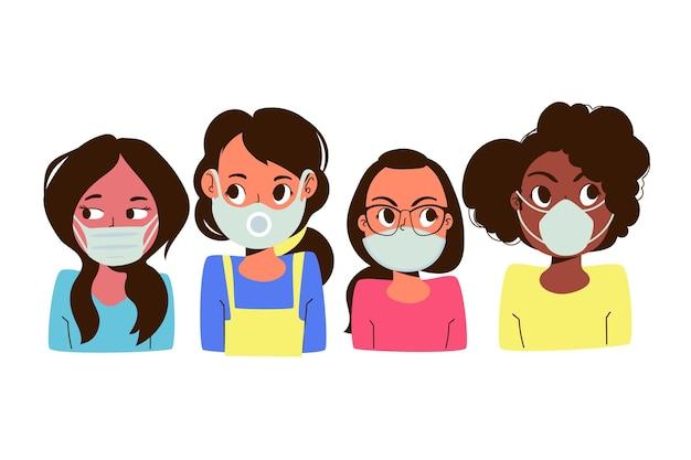 Leute, die masken tragen Kostenlosen Vektoren