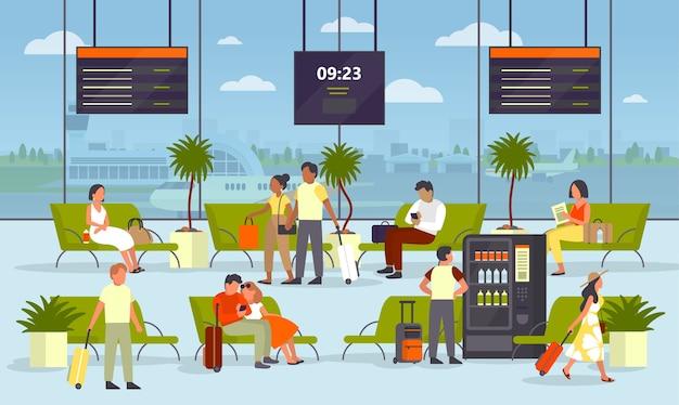 Leute, die mit dem bagagge im wartezimmer des flughafens sitzen. idee von reisen und reisen. gebäudeinnenraum. passagier warten auf abflug. Premium Vektoren