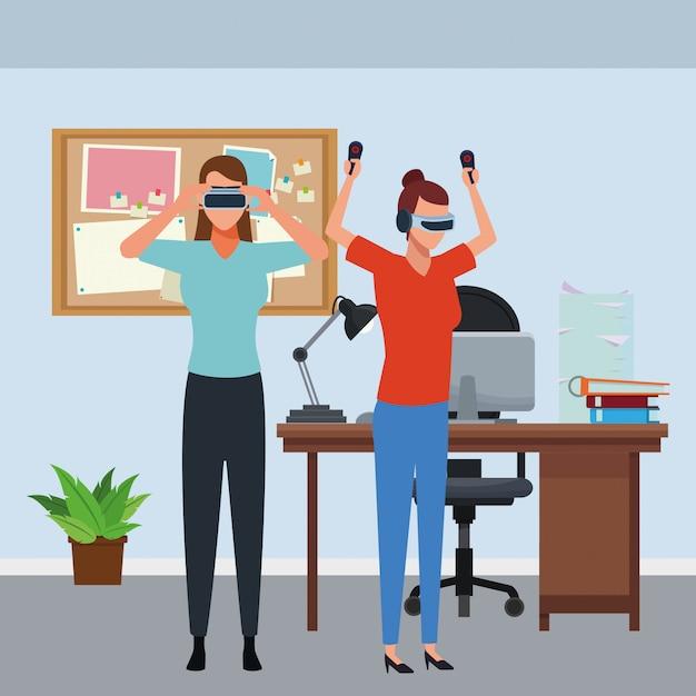 Leute, die mit gläsern der virtuellen realität spielen Premium Vektoren