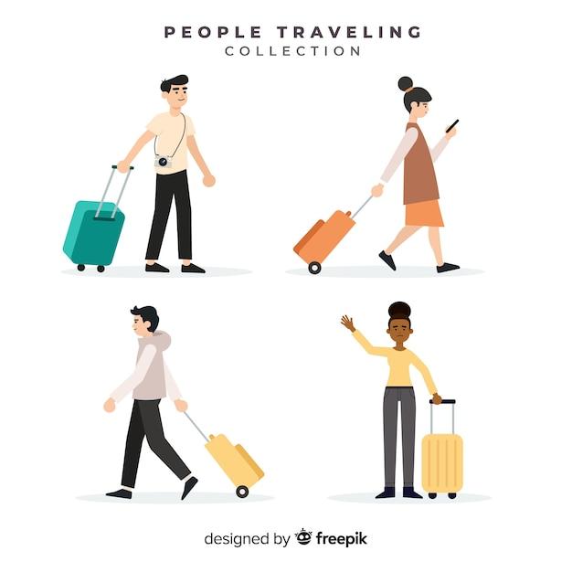 Leute, die mit koffersammlung reisen Kostenlosen Vektoren