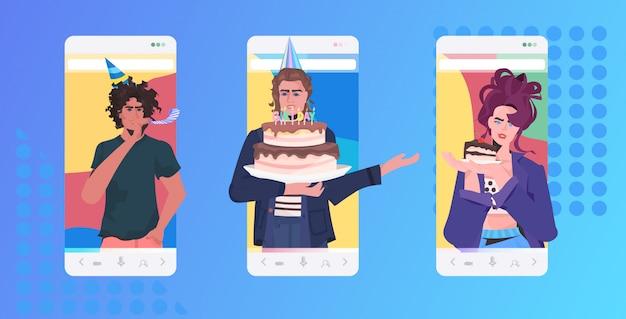 Leute, die online-party-mix-race-freunde feiern, die ein virtuelles spaß-feier-konzept haben. horizontale porträtillustration der mobilen app des smartphonebildschirms Premium Vektoren