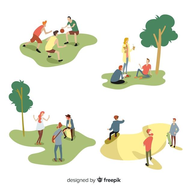 Leute, die outdoor-aktivitäten machen Kostenlosen Vektoren