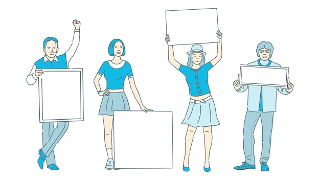Leute, die plakate mit raum für textkarikaturillustration halten. aktivismus, demonstration, werbung. Premium Vektoren
