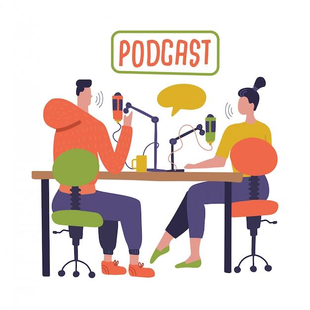 Leute, die podcast im studio aufnehmen. radiomoderator interviewt gäste auf radiosender-zeichentrickfiguren. junger dj, mann und frau mit mikrofonen sprechen. rundfunk. flache illustration Premium Vektoren