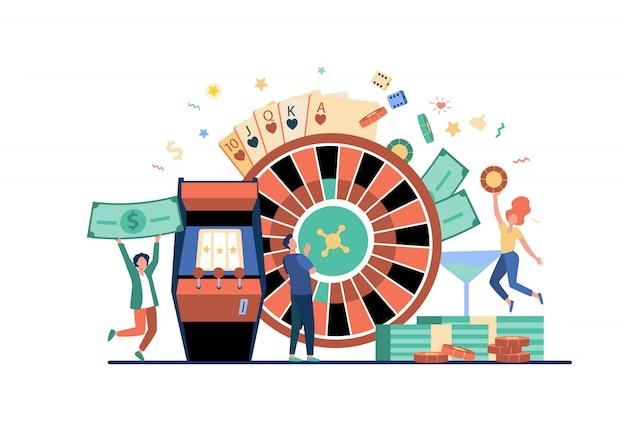 Leute, die poker spielen und geld gewinnen Kostenlosen Vektoren