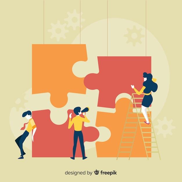 Leute, die riesigen puzzlespielhintergrund bilden Kostenlosen Vektoren