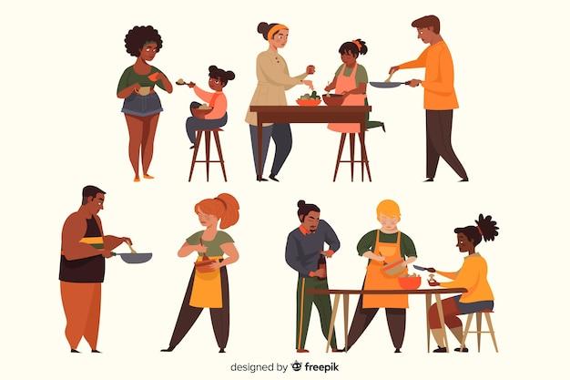 Leute, die sammlung kochen Kostenlosen Vektoren
