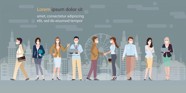 Leute, die schützende gesichtsmasken mit rauche tragen. Premium Vektoren