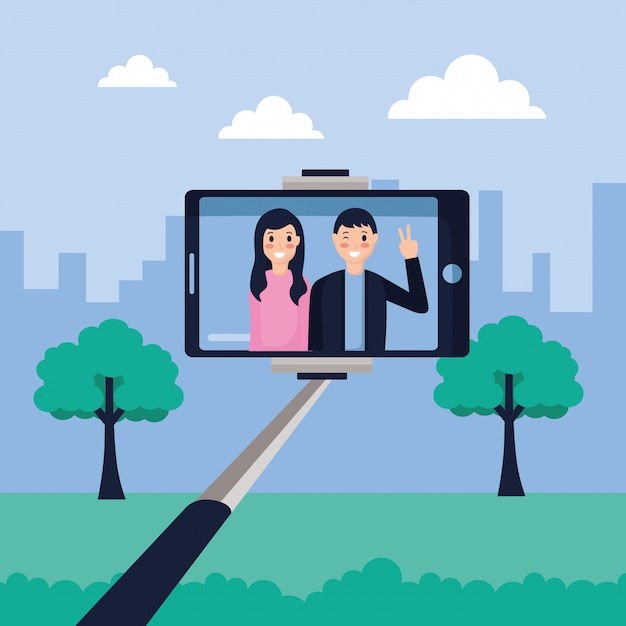 Leute, die selfies machen Kostenlosen Vektoren