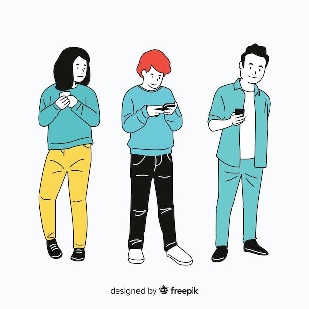 Leute, die smartphones in der koreanischen zeichnungsart halten Kostenlosen Vektoren