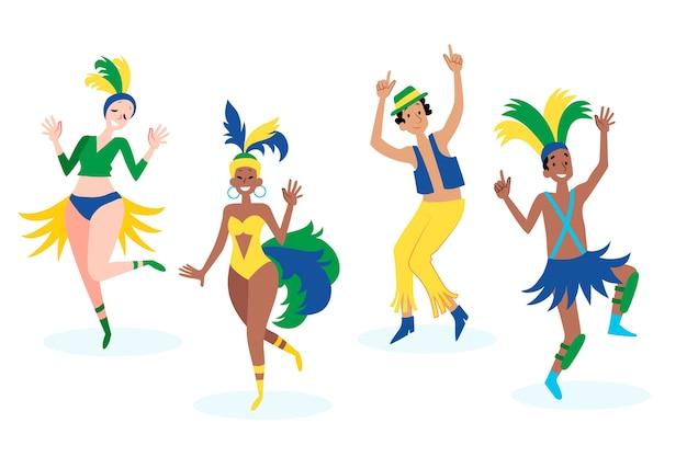 Leute, die spaß haben und am brasilianischen karneval tanzen Kostenlosen Vektoren