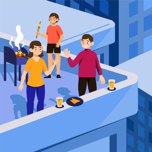 Leute, die staycation-konzept genießen Kostenlosen Vektoren