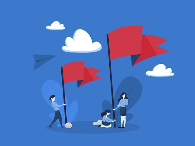 Leute, die stehen und große rote fahne halten. metapher von leistung und führung. eben Premium Vektoren
