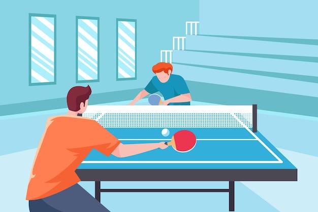 Leute, die tischtennis spielen Kostenlosen Vektoren
