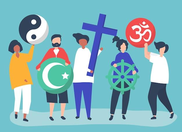 Leute, die verschiedene religiöse symbolillustration halten Kostenlosen Vektoren