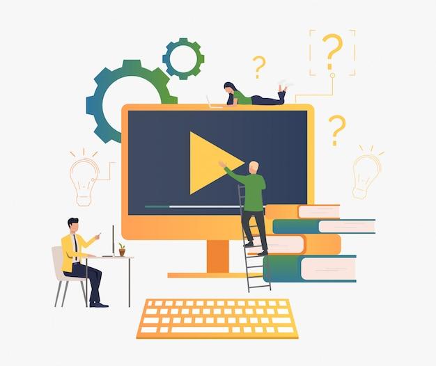 Leute, die videos erstellen Kostenlosen Vektoren