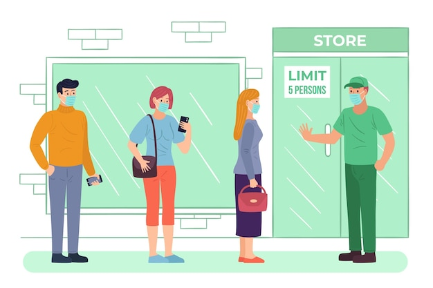 Leute, die vor dem supermarkt in der schlange stehen Kostenlosen Vektoren