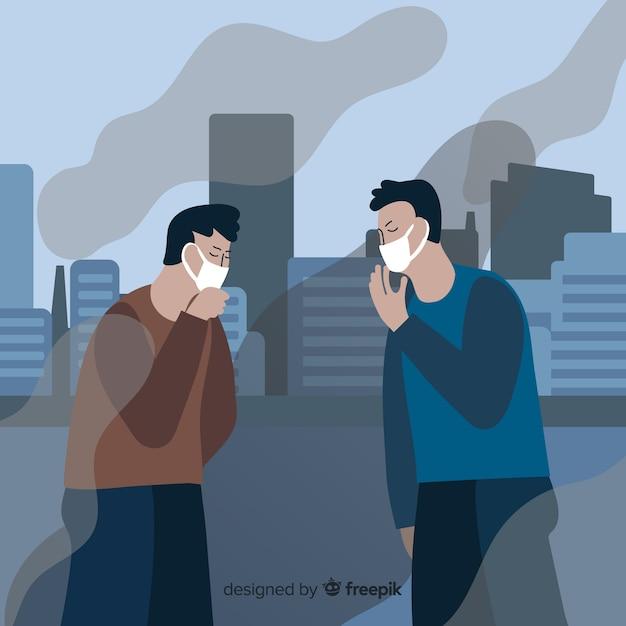 Leute, die wegen der verschmutzung husten Kostenlosen Vektoren