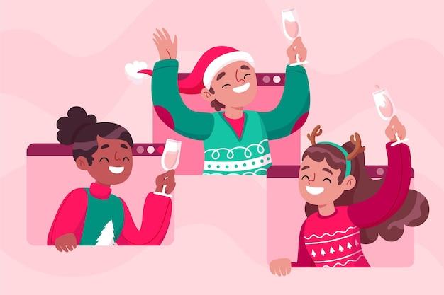 Leute, die weihnachten auf einem videoanruf feiern Kostenlosen Vektoren