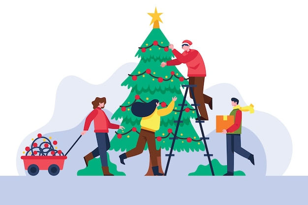 Leute, die weihnachtsbaum verzieren Kostenlosen Vektoren