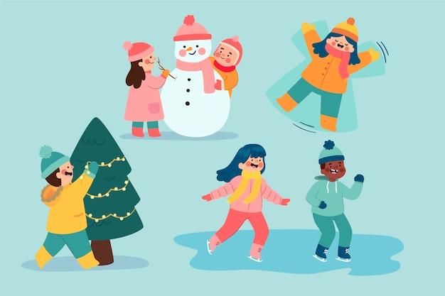 Leute, die winteraktivitäten im freien machen Kostenlosen Vektoren