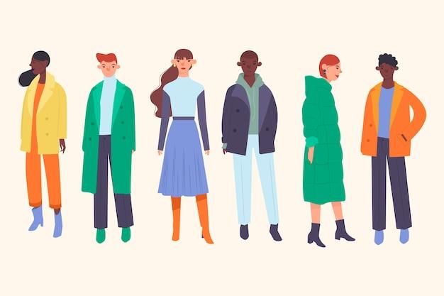 Leute, die winterkleidung tragen Kostenlosen Vektoren